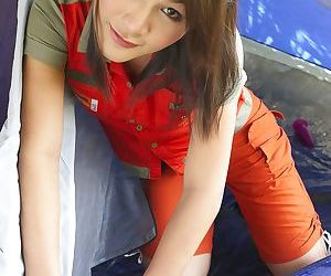 Ladyboy traveler from Asia shoves anal dildo in lustful hole in the tent