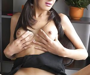 Lusty Gisele flaunts her tiny Asian penis and asshole at the office