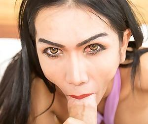 Brunette ladyboy Bella gets ass fucked by a long dick in POV mode