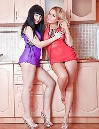 Stunning teen babes on high heels Snezha & Lisa stripping and posing nude