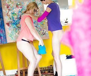 Amateur chicks Ophelia and Salma dress hairy vaginas after lesbian sex