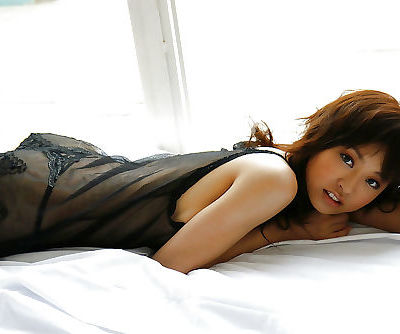Sweet asian babe Hara Sarasa posing in lingerie and high heeled shoes