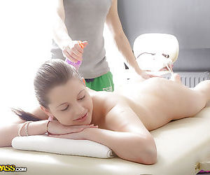 Young babe Juliya feels finger being inserted into pussy during massage