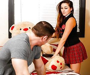 Young schoolgirl Zoey Foxx gets naked for big cock in young cunt