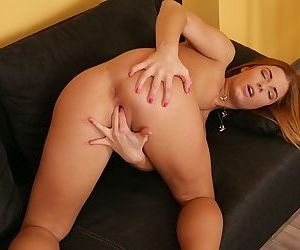 Teen first timer Chrissy plunges her fingers into tight pussy