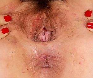 Mature lady Sofia Rodas shows off her all natural underarms and vagina