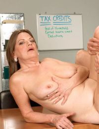 Older woman Randi Layne fucks the tax man as part of their new agreement