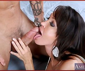 Tempting MILF cocksucker Kristina Cross fucks a younger guy