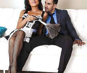 Naughty asian maid in stockings Kaylani Lei gets fucked hardcore