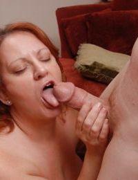 Mature fatty with big tits Brandy dose blowjob and licks balls