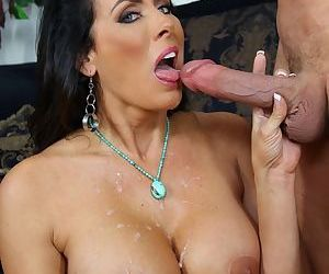 Mature mom Reagan Fox seduces a younger boy and sucks off his huge cock