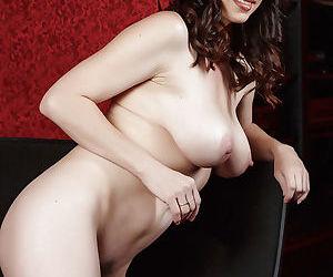Hot brunette mom RayVeness undresses to reveal hairy MILF vagina