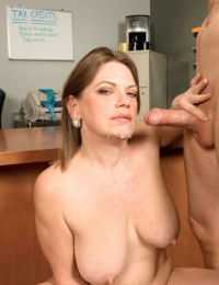 Plump mature woman Randi Layne sucks a man off behind closed office doors