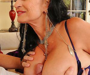 Older mature Rita Daniels gives titjob with round big tits and sucks balls
