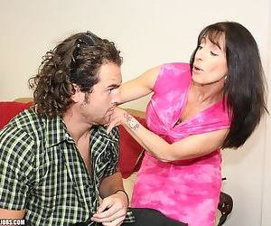 Middle aged lady Bibette Blanche seduces a younger guy and jerks hin off