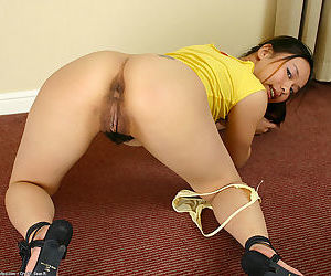 Asian first timer reveals hairy vagina for solo girl masturbation session