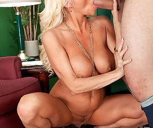 Older blonde woman Farrah Rose seduces and blows a younger gentleman