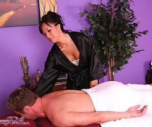 Asian woman Asa Akira sensational massage and heavy cock sucking