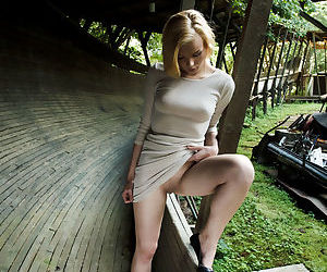Horny Sophias short tight dress gets hiked for a fingering in the woods