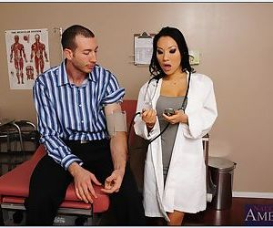 Slutty asian doctor Asa Akira sucks and fucks her patients huge dick