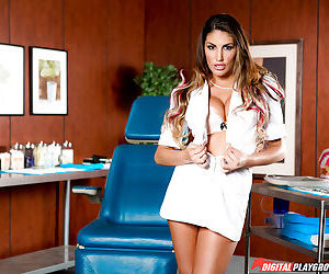 Teen dental assistant August Ames baring big tits before masturbating in chair