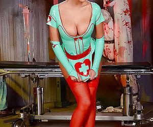 Kinky fetish model August Ames modeling latex nurse uniform in nylons