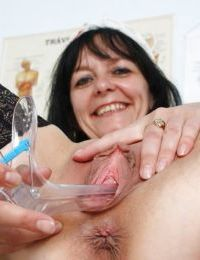 Sweet Mature Nurse Spreads & Toys with her Smooth Dripping Wet Pussy