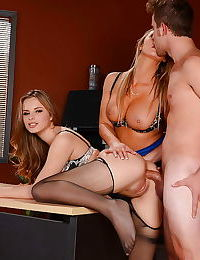 Office sluts Abbey Brooks and Jillian Janson get lusty buttholes poked
