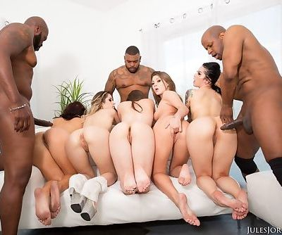 A slew of white sluts get ass fucked by black men with big dicks