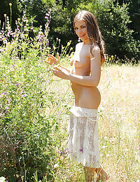 Outdoor undressing scene with a skinny teen babe Avril Sun in white skirt