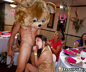 Dancing bear has his cock sucked nicely by clothed ladies on a party