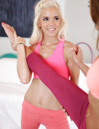After some yoga teens Halle Von and Marry Lynn play with each other