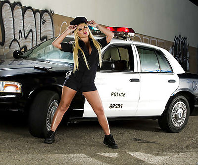 Stupendous police babe Alexis Ford stripping off her uniform and lingerie