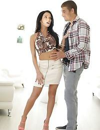 White teen Megan Rain gets seduced by her stepbrother in a tight skirt
