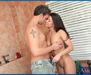 Young latina babe Ann Marie Rios pleasing a huge cock in the bathroom