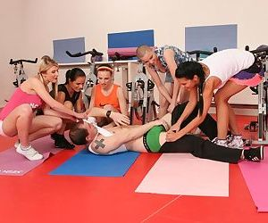 Clothed females use their yoga instructors cock as they see fit