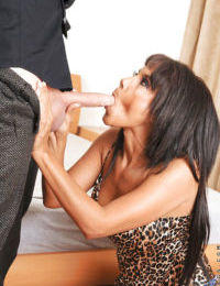 Older ebony lady Anjanette getting banged by white guy with a huge penis