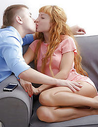 Undressing scene features teen redhead Janette doing blowjob after