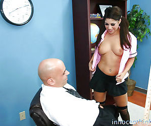 Tattooed brunette Britney smiling and giving a hot blowjob today