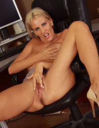 Hot older secretary with sexy legs decides to masturbate in her office