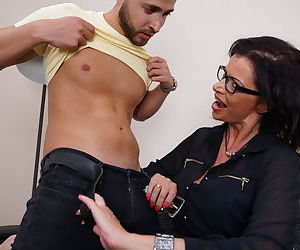 Cock hungry mature MILF seduces a younger man for a hard pounding