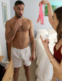 Innocent looking Riley Reid forces voyeur stepbrother to cover her in cum