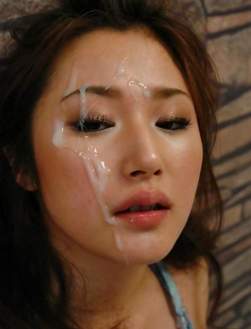 Sexy Asian moans as the cum drips down her face