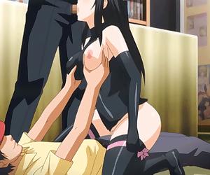 Anime babe riding cock and sucking cock