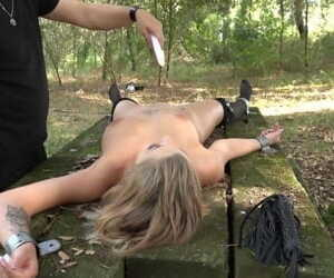 Slave gets fresh air and hot wax