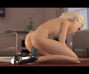 Queen Elsa working a dildo