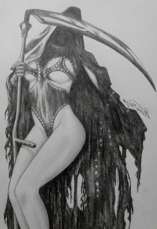 Art Work of Evil Evi Kane has been drawn as a grim reaper babe like monster with a syph weapon - SGB