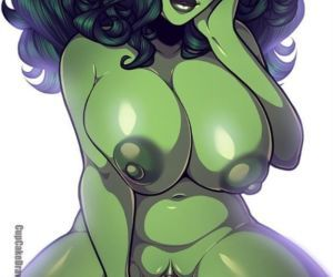 Cute plump She-Hulk riding a futa dick