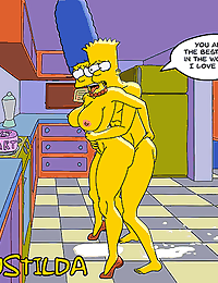 Bart and Marge Simpson celebrating his 18th birthday