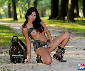 Let the military girl show off her hot pussy for you
